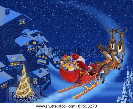 Christmas illustration of Santa Claus - stock photo