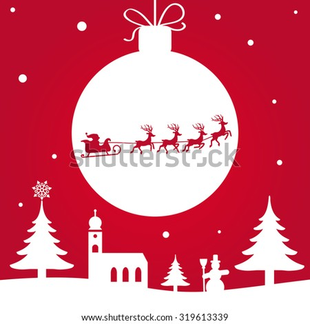 Christmas illustration - Santa Claus with Reindeer - stock photo