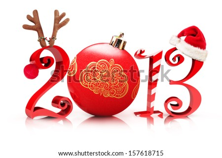 Christmas 2013 , Illustration showcasing 2013 with a reindeer , tree ornament, candy cane , and a Santa hat on a white background.  - stock photo