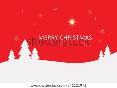 Christmas illustration white christmas trees in winter scene red background with Merry Christmas text - stock photo