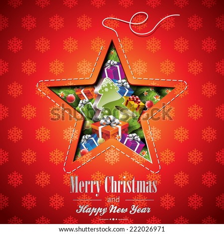 Christmas illustration with abstract star design and holiday elements on snowflakes background. JPG version - stock photo