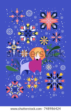 Christmas illustration cute dog snowflakes holiday stock christmas illustration with cute dog and snowflakes holiday greetings card design m4hsunfo
