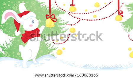 Christmas illustration with cute white rabbit on snow. Seasonal greeting card with space for your text.  - stock photo