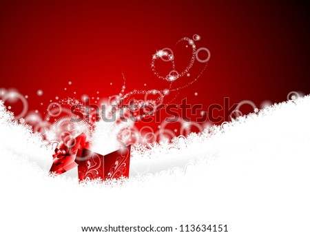 Christmas illustration with magic gift box on snowflakes. (JPG version) - stock photo