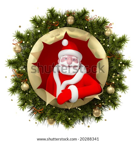 Christmas illustration with Santa Claus - stock photo