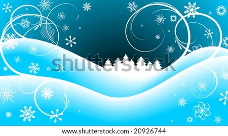 Christmas illustration with tree on blue background