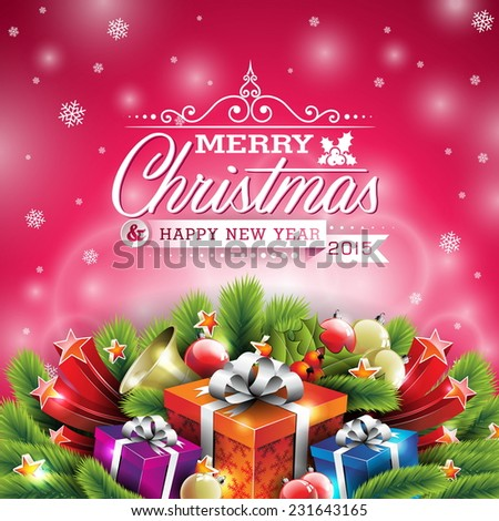 Christmas illustration with typographic design and shiny holiday elements on red background. JPG version. - stock photo