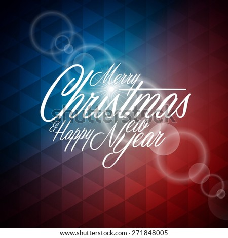 Christmas illustration with typographic design on abstract geometric background. JPG version. - stock photo