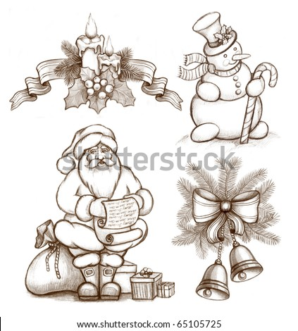Christmas illustrations of candle and holly berry, bells and bow, Santa Claus and Snowman - stock photo