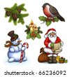 Christmas illustrations of candle and holly berry, cone on branch , Santa Claus, snowman and bullfinch - stock vector