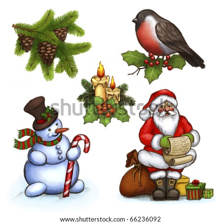 Christmas illustrations of candle and holly berry, cone on branch , Santa Claus, snowman and bullfinch - stock photo