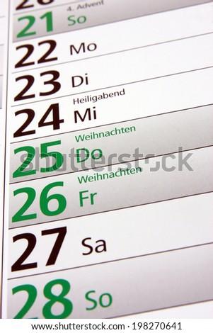 christmas in a german calendar - stock photo