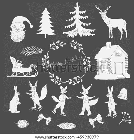 Christmas in forest. Silhouettes for Christmas decoration. Hand drawn elements for holidays.