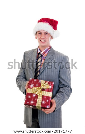 Christmas in the office, businessman with present, gift.  studio shot, white background