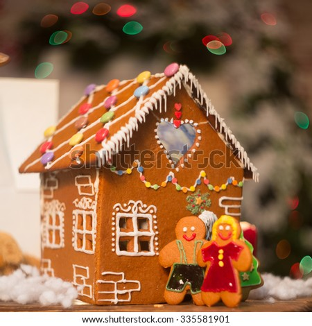 Christmas installation gingerbread house - stock photo