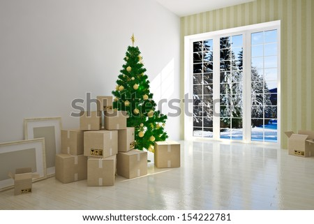 Christmas Interior moving house with cardboard boxes - stock photo