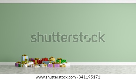Christmas interior of a room with colorful gifts over green wall 3d rendering - stock photo