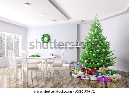 Christmas interior of living room with christmas tree and gifts 3d rendering - stock photo