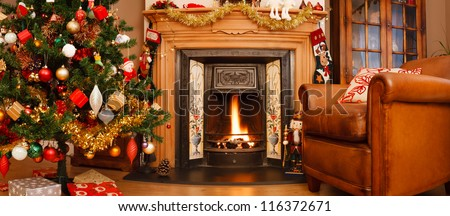 Christmas interior panorama - stock photo