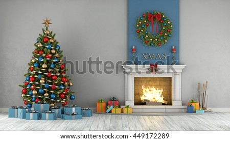 Christmas interior with classic fireplace,tree,present and wreath - 3d rendering - stock photo