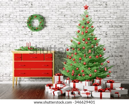Christmas interior with decorated fir tree and gifts 3d rendering