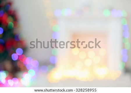 Christmas  interior with defocused lights - stock photo