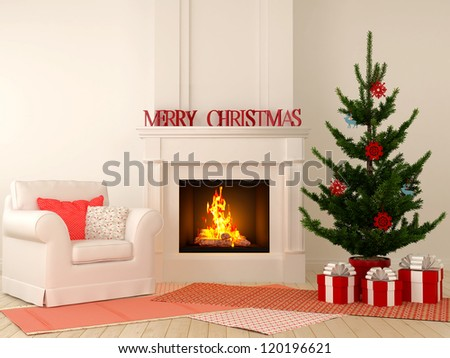 Christmas interior  with fireplace in the center of the composition, comfortable chairs and a Christmas tree with presents. - stock photo