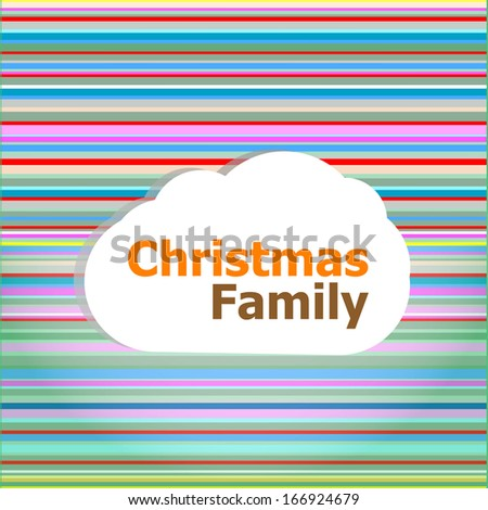 Christmas invitation card, christmas family word on abstract cloud