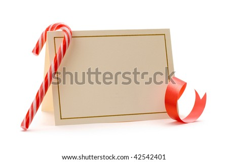 Blank tag tied red ribbon soft stock photo 43027615 shutterstock christmas invitation card with candy cane and red ribbon stopboris Choice Image