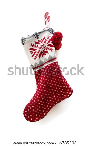 Christmas knitted sock on white background - stock photo