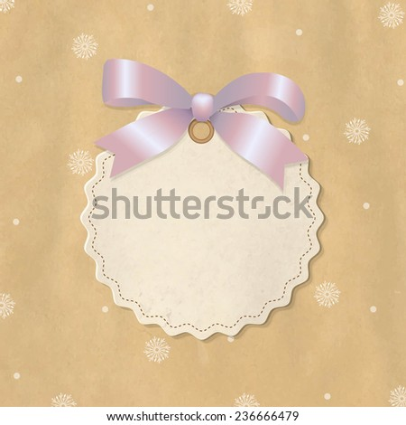 Christmas Label With Pink Ribbon - stock photo