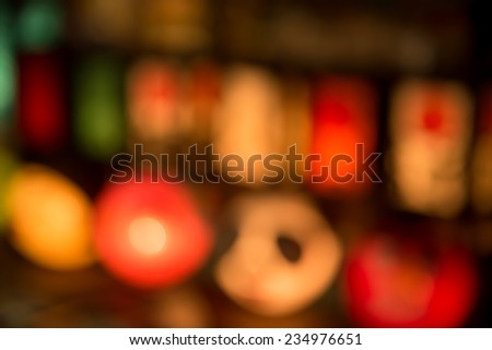 Christmas Lamp with light (blurred version) - stock photo