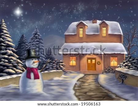 Christmas landscape at night. Original digital illustration. - stock photo