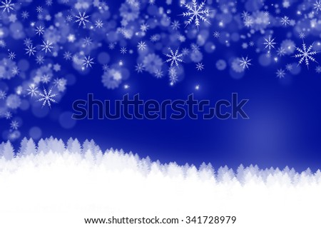 Christmas landscape background with snowflakes.