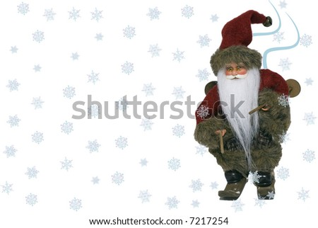 Christmas landscape of Santa Claus with ski and snow- front view - stock photo