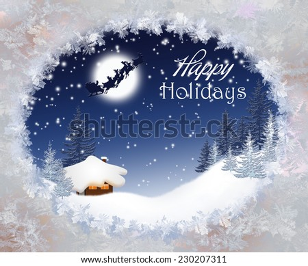 Christmas landscape with Santa Claus. - stock photo