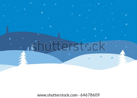 christmas landscape with snow flags - stock photo