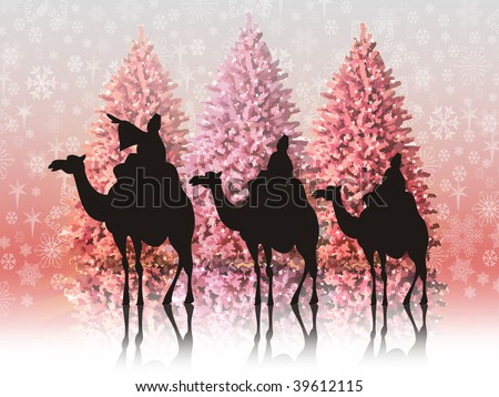 Christmas landscape with the three wise men - stock photo