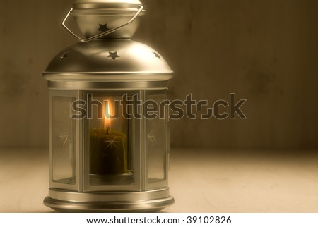 Christmas lantern in a warm lighting