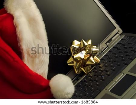 Christmas Laptop Five - stock photo