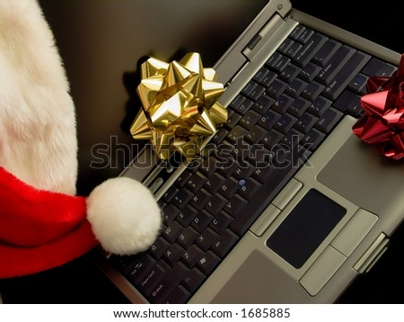 Christmas Laptop Six - stock photo