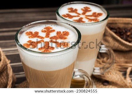 Christmas late with a cinnamon  - stock photo