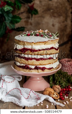 Christmas Layered Cake with Raspberry Jam and Whipped Cream, Victoria Sponge, vintage effect, copy space