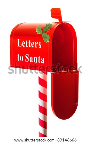 Christmas letter box to Santa isolated on white - stock photo