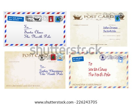 Christmas letters and postcards to Father Christmas  - stock photo
