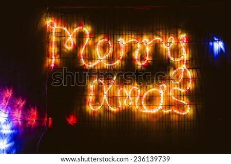Christmas lighting on house - stock photo