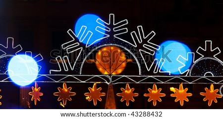 Christmas lightning decoration on New Year's Eve in Saint-Petersburg - stock photo