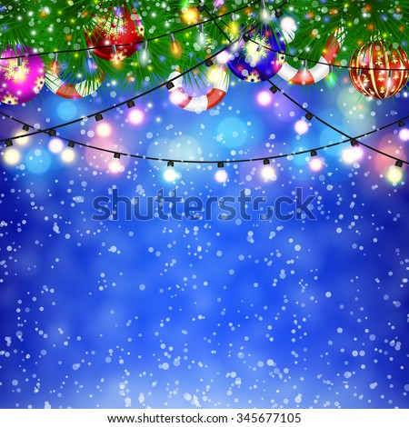 Christmas Lights and fir twigs background . concept for greeting or postal card. illustration  Raster version. - stock photo