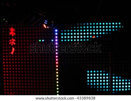 Christmas lights,  color background in a bar - stock photo