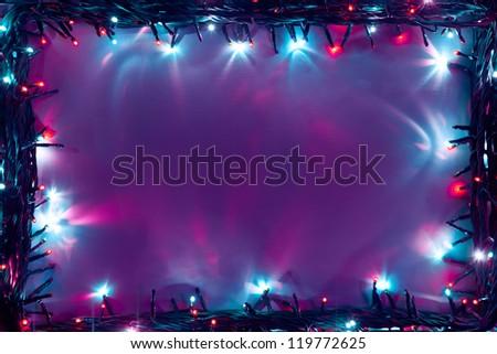 christmas lights frame backdrop - stock photo
